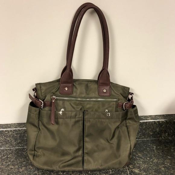 Avon Handbags - Avon olive green & brown organizer purse tote